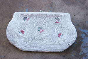 vintage 1960s Beaded Clutch - 60s White Beaded Handbag Purse