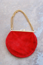 vintage 70s Embroidered Seude Bag 1970s Red Suede and Brass Purse
