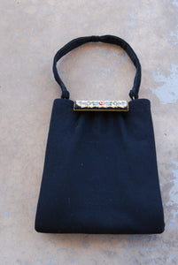 vintage 50s Purse - 1950s Tapestry and Black Wool Handbag