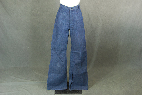 vintage 70s Bellbottom Jeans - 1970s Sailor Bell Bottoms Tall Long Jeans Dark Denim Super Bells Sz 28