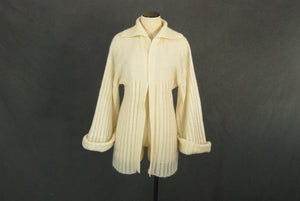 vintage 70s Cardigan - Off White Bell Sleeve Sweater - 1970s Boho Open Weave Cardigan SZ S M