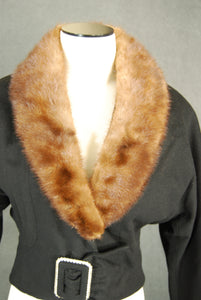 vintage 50s Wool Coat - 1950s Bombshell Mink Collar Coat - Short Black Wool Coat Sz XS S