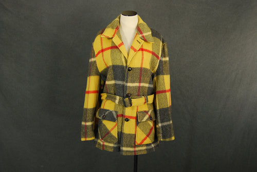 vintage 70s Plaid Wool Coat 1970s Yellow Plaid Belted Coat Unisex Sz Mens L Womens XL