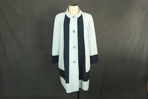 vintage 60s Duster Jacket - Mod Colorblock Raincoat 1960s Mackintosh Coat Sz L XL