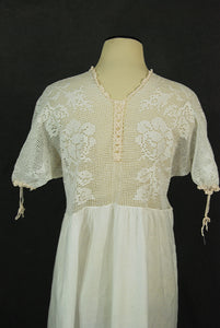 antique Victorian Nightgown - Crochet Yoke Cotton Tent Dress - White Cotton Dress Night Gown Sz XL