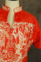 vintage 70s Aztec Tent Dress - 1970s Orange Batik Incan Dress Ethnic Hippie Dress Sz L XL