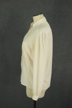 vintage 80s Silk Blouse - 1980s Cream Silk Shirt Minimalist Button Front Shirt Top Sz M