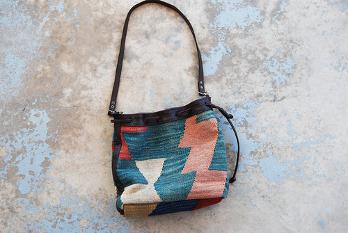 vintage 80s Kilim Purse - 1980s Kilim and Leather Shoulder Bag BohoTapestry Bag Bucket Bag