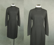 vintage 60s Wiggle Dress - 1960s Black Wool Jersey Sweater Dress Mock Turtleneck Dress Sz M