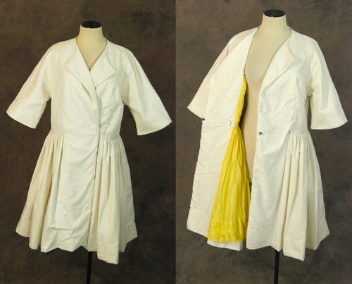 vintage 50s Princess Coat - 1950s White Fit n Flare Coat Sz L XL