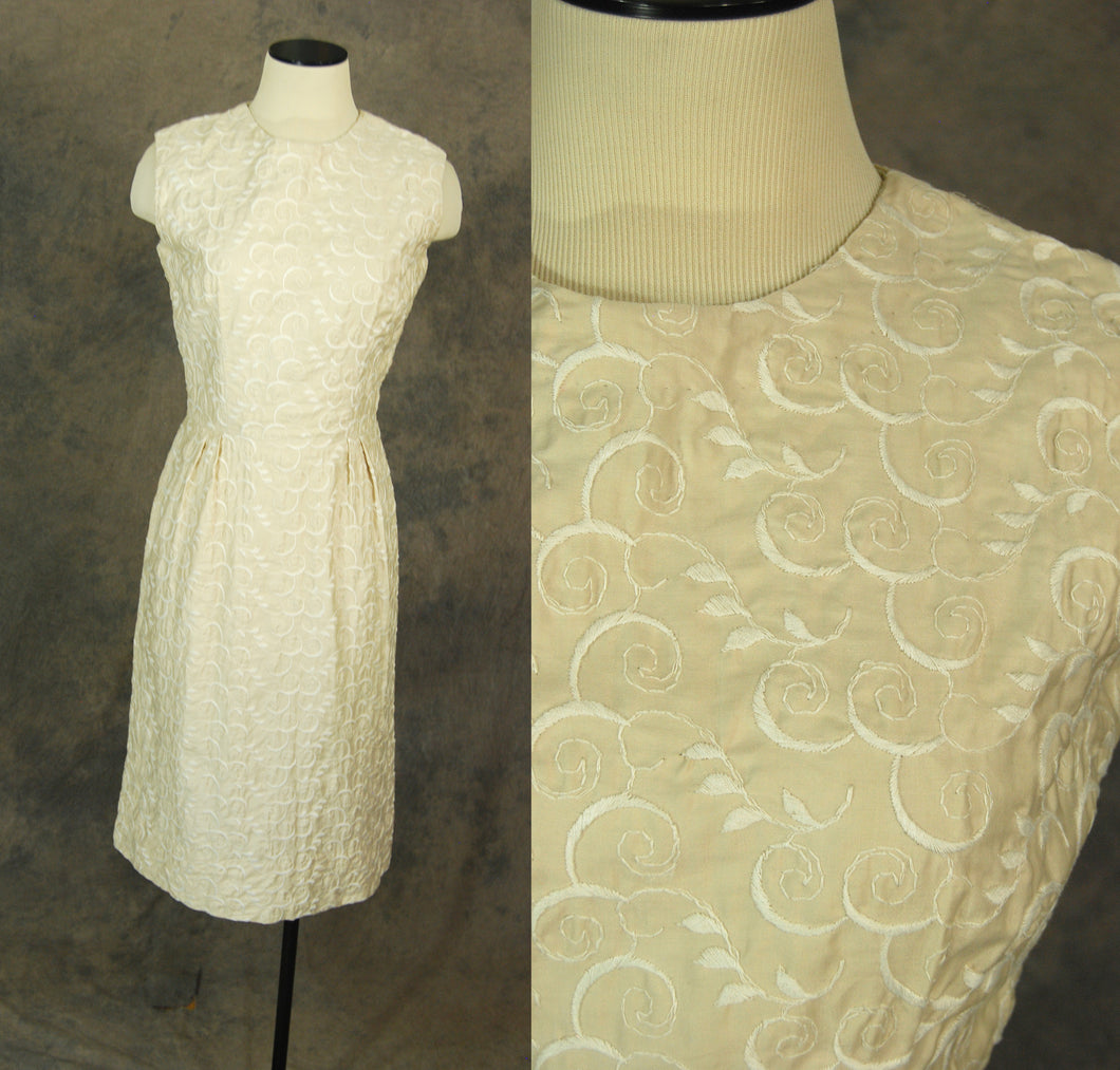 vintage 50s Wiggle Dress - 1950s Embroidered Cotton Dress Sz S