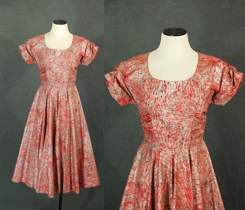 vintage 50s Fireworks Cocktail Dress - Red and Metallic Silver Gold Party Dress 1950s Starburst Printed Dress Sz XS