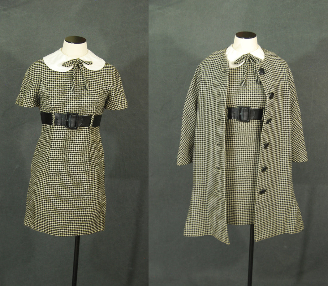vintage 60s Mod Houndstooth Wiggle Dress and Coat - 1960s Wool Suit Set Mini Dress and Swing Coat Sz S