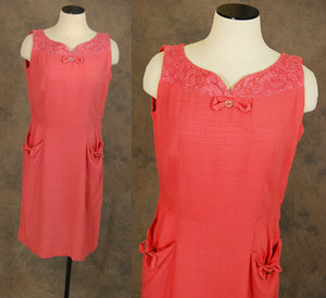 vintage 50s Cocktail Dress - Toni Todd Dress 1950s Red Pink Wiggle Dress Sz L