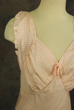 vintage 30s Nightgown - Red and White Plaid Bias Cut Negligee 1930s Lingerie Sz M