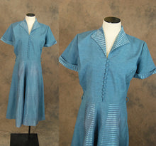 vintage 40s Dress - 1940s Cornflower Blue Striped Day Dress Shirtwaist Shirt Dress Sz M