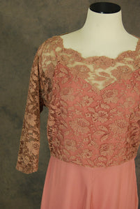 vintage 40s Maxi Dress - 1940s Pink Lace Illusion Dress - Bias Cut Party Dress Evening Gown Sz M