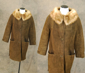 vintage 60s Coat - 1960s Mod Dark Brown Suede Long Coat Leather Coat Mink Fur Collar Coat Sz M L