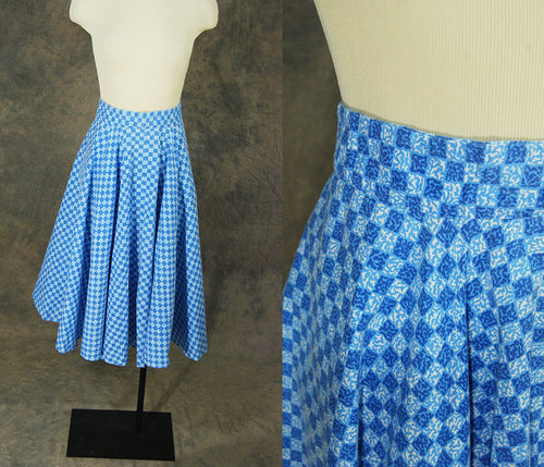 vintage 50s Circle Skirt - Blue Checkerboard Full Skirt 1950s Checked Cotton Skirt Sz XS