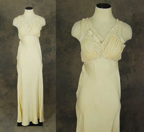 vintage 30s Silk Nightgown - Cream Silk and Lace Bias Cut Negligee Racerback Nightgown 1930s Lingerie Sz XS