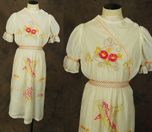 vintage 40s Parachute Silk Dress - 1940s Rare WWII Japanese Souvenir Dress - Embroidered Peasant Dress Sz XXS