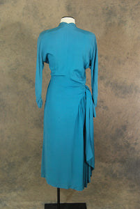 vintage 40s Cocktail Dress - 1940s Blue Draped Sash Dress Minimalist Ruched Hip Dress Sz S