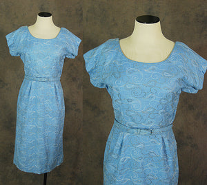 vintage 50s Cocktail Dress - Blue Linen Wiggle Dress 1950s Silver Embroidered Wiggle Dress Sz S