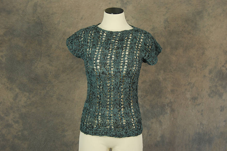 vintage 80s Woven Leather Shirt - 1980s Boho Open Knit Sweater - Open Weave Blouse Sz XS S