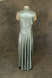 vintage 30s Robe - 1930s Liquid Satin and Lace Dressing Gown Loungewear Maxi Duster Sz S