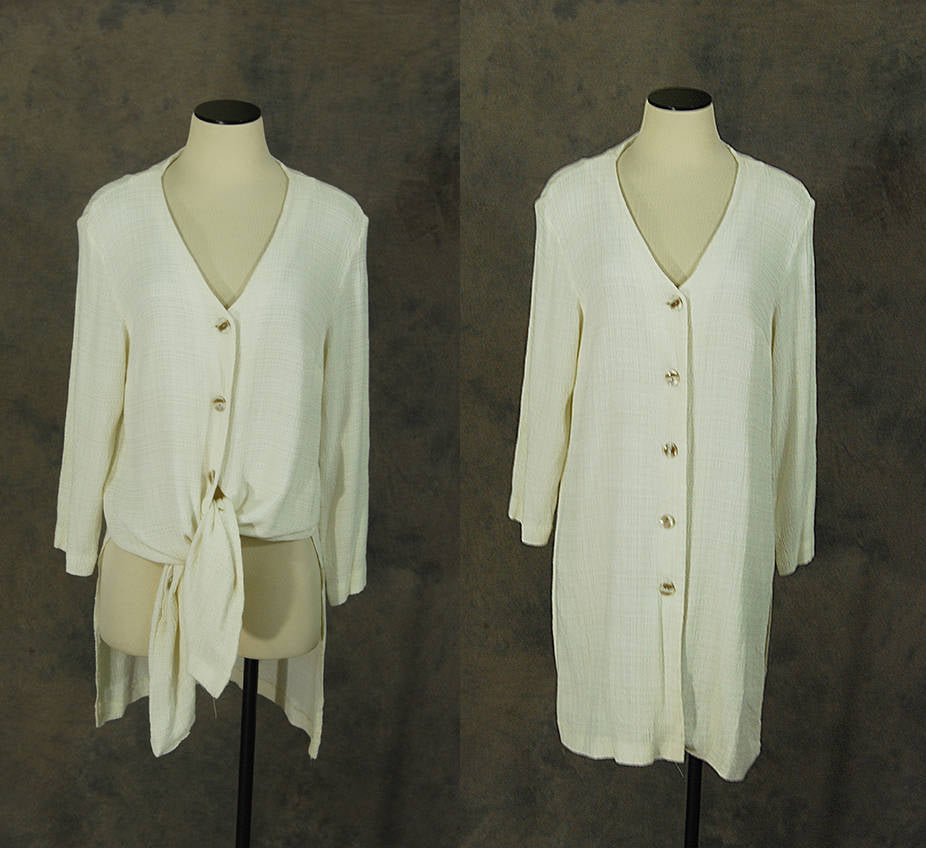 vintage 90s Minimalist Tunic - 1990s White Button Front Blouse Duster Mini Dress Sz M L
