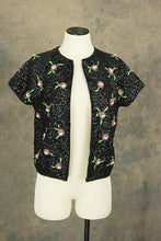 vintage 60s Beaded Sweater - 1960s Floral Beaded Black Wool Sweater Beaded Cardigan Jacket SZ S M