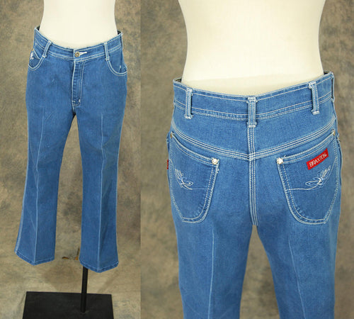 vintage 80s Braxton Jeans - 1980s High Waist Dark Denim Jeans Broken in Straight Leg Jeans Sz 31 x 25 Short