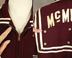 vintage 1950s Basketball Warm Up Jacket - 50s Wool Warmup Zip Front Cardigan Athletic Wear Sportswear Sz L