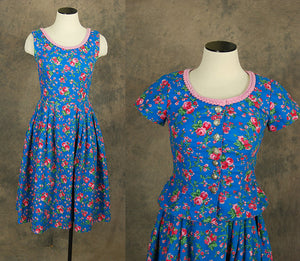 vintage 60s Sun Dress and Peplum Jacket - 1960s Blue and Pink Floral Dress Set Sz S