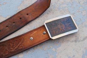 vintage Tooled Leather Belt -  Floral Tooled Brown Leather Belt with Etched Copper Buckle Sz XL XXL