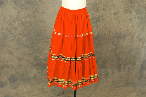vintage 50s Circle Skirt - Orange Corduroy Squaw Patio Skirt 1950s Country Western Skirt Sz S