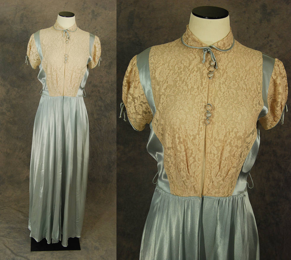 vintage 30s Robe - 1930s Liquid Satin and Lace Dressing Gown ...