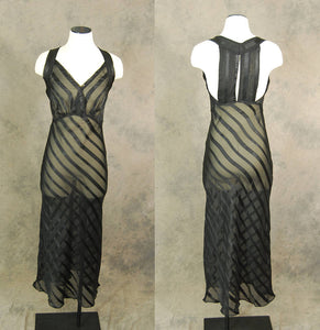 vintage 30s  Nightgown - Black Striped Mesh Night Gown Bias Cut Negligee Racerback Nightgown 1930s Lingerie Sz XS