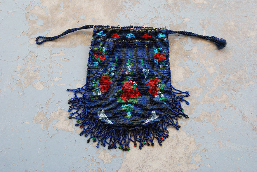vintage 20s Beaded Purse - 1920s Art Deco Beaded Bag Rose Floral Beaded Fringe Purse Flapper Purse Drawstring Purse Wristlet