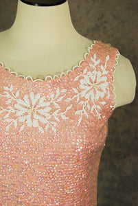 vintage 60s Beaded Tank Top - 1960s Pink Wool Sweater Sleeveless Sweater Beaded SZ S