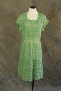 vintage 40s 50s Crochet Dress - 1940s 1950s Green Knit Dress - Soft Wool Open Knit Dress Sz M