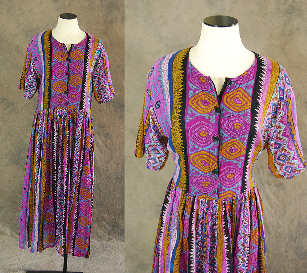 vintage 90s India Cotton Dress - Ethnic Cotton Gauze Tent Dress - Tribal Festival Maxi Dress Sz M L