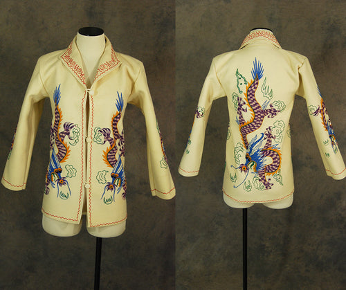 vintage 40s Dragon Embroidered Jacket - 1940s Wool Felt Souvenir Jacket Tourist Jacket Novelty Print Jacket Sz XS