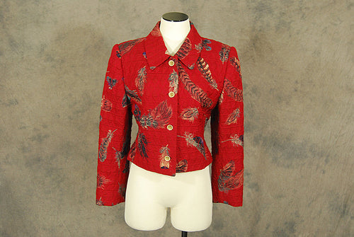 vintage 90s Quilted Jacket - 1990s Feather Novelty Print Jacket Sz M