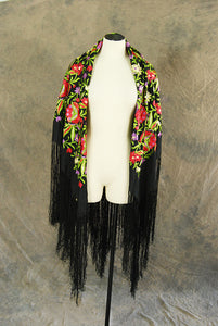 antique 20s 30s Piano Shawl - vintage 1920s Huge Embroidered Black Silk Shawl Fringe Scarf Flapper Shawl Sz S M L