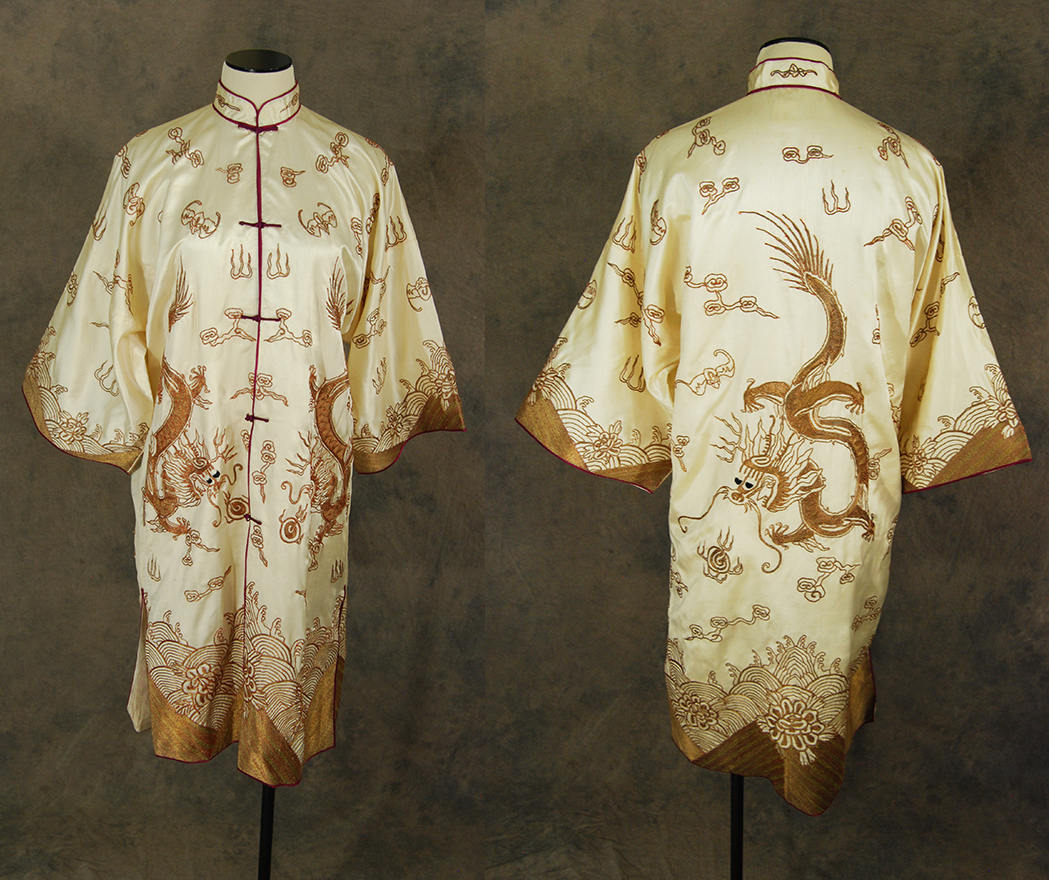 vintage 30s Dragon Robe antique 1930s Chinese Silk Robe - Gold Bullion Dragon Embroidered Cream Silk Duster Jacket Unworn Sz S M L