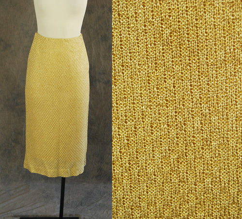 vintage 50s Pencil Skirt - Gold Lame Knit Skirt - 1950s Evening Cocktail Skirt Nelly de Grab Sz XS