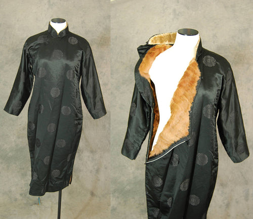 vintage 40s Cheongsam Dress - 1940s Fox Fur Lined Cheongsam Black Silk Qipao Asian Dress Rare Sz L