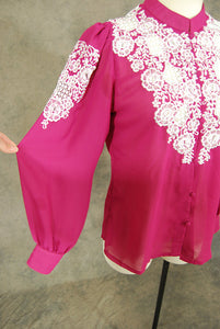 vintage 70s Embroidered Blouse - 1970s Fuchsia Cutwork Chiffon Blouse - Sz M