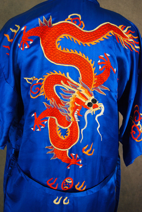 ... vintage 30s 40s Asian Pajamas Kimono Robe Set - Dragon Embroidered Silk  Shirt and Palazzo Pants ... 64242cc6d
